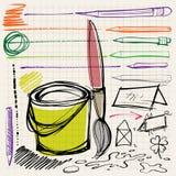 Di nuovo ai doodles del banco Immagini Stock