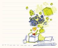 Di nuovo ai doodles del banco royalty illustrazione gratis