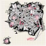 Di nuovo ai doodles del banco - stile urbano illustrazione vettoriale