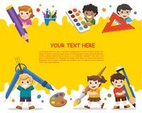 Di nuovo al banco Bambini felici della scuola con gli elementi della scuola Templ immagini stock libere da diritti