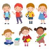 Di nuovo al banco Insieme dei bambini della scuola nel concetto di istruzione