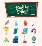 Di nuovo al banco Insieme dei rifornimenti e delle icone di scuola Immagini Stock Libere da Diritti