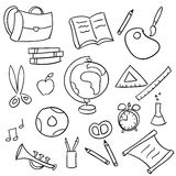 Di nuovo al banco - insieme del doodle del banco Fotografia Stock