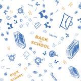 Di nuovo al banco Modello sull'argomento di istruzione con i disegni dei rifornimenti di scuola Illustrazione piana ENV 10 illustrazione di stock