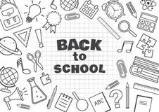 Di nuovo al banco Pagina con i rifornimenti di scuola su fondo a quadretti Illustrazione di vettore illustrazione di stock