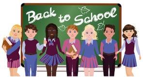 Di nuovo al banco Piccoli scolari Fotografia Stock Libera da Diritti