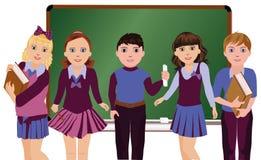 Di nuovo al banco Piccoli scolari e scolare Fotografia Stock