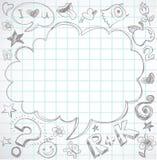 Di nuovo al banco - taccuino con i doodles Immagini Stock Libere da Diritti