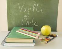 Di nuovo al cibo sano della scuola nello Spagnolo: Cole di Al di Vuelta Fotografie Stock Libere da Diritti