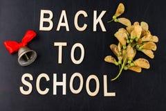 Di nuovo al concetto del banco Campana di scuola dell'insegna di vista superiore ed autunno d Fotografie Stock Libere da Diritti