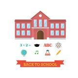 Di nuovo al concetto del banco Edificio scolastico con l'insieme dell'icona Musica dell'atomo della matita di graduazione del cap Fotografia Stock Libera da Diritti