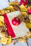 Di nuovo al concetto del banco Foglie di autunno con il vecchio libro e la mela su fondo di legno Immagini Stock