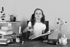 Di nuovo al concetto del banco La scolara si siede allo scrittorio con il fronte serio tiene il libro Fotografia Stock Libera da Diritti