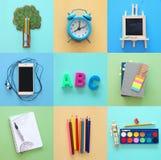Di nuovo al concetto del collage della scuola oggetti e rifornimento della scuola Fotografie Stock Libere da Diritti