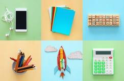 Di nuovo al concetto del collage della scuola oggetti e rifornimento della scuola Fotografia Stock Libera da Diritti