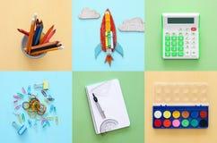 Di nuovo al concetto del collage della scuola oggetti e rifornimento della scuola Fotografie Stock