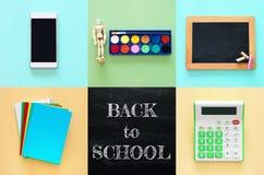 Di nuovo al concetto del collage della scuola oggetti e rifornimento della scuola con la c Immagini Stock Libere da Diritti