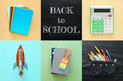 Di nuovo al concetto del collage della scuola oggetti e rifornimento della scuola con la c Immagine Stock Libera da Diritti