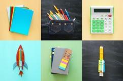 Di nuovo al concetto del collage della scuola oggetti e rifornimento della scuola con la c Fotografia Stock