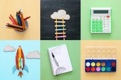 Di nuovo al concetto del collage della scuola oggetti e rifornimento della scuola con la c Fotografie Stock Libere da Diritti