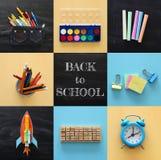 Di nuovo al concetto del collage della scuola oggetti e rifornimento della scuola con la lavagna dell'aula Fotografie Stock