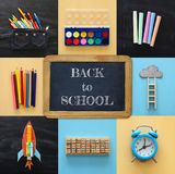Di nuovo al concetto del collage della scuola oggetti e rifornimento della scuola con la lavagna dell'aula Immagine Stock
