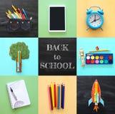 Di nuovo al concetto del collage della scuola oggetti e rifornimento della scuola con la lavagna dell'aula Fotografia Stock