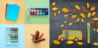 Di nuovo al concetto del collage della scuola oggetti e rifornimento della scuola con la lavagna dell'aula Immagine Stock Libera da Diritti