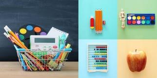 Di nuovo al concetto del collage della scuola oggetti e rifornimento della scuola con la lavagna dell'aula Fotografie Stock Libere da Diritti