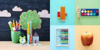 Di nuovo al concetto del collage della scuola oggetti e rifornimento della scuola con la lavagna dell'aula Fotografia Stock Libera da Diritti