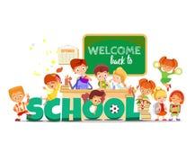 Di nuovo al concetto di progetto della scuola con gli allievi divertenti del fumetto Immagine Stock
