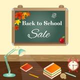 Di nuovo al concetto di vendita della scuola con la lavagna, elementi della scuola, lampada di scrittorio illustrazione di stock