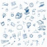 Di nuovo al fondo di concetto di istruzione, della scuola con la linea icone di arte ed ai simboli illustrazione vettoriale