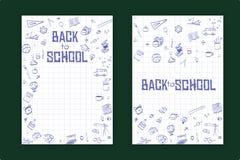 Di nuovo al fondo di concetto di istruzione, della scuola con la linea icone di arte ed ai simboli illustrazione di stock