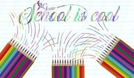 Di nuovo al fondo della scuola con l'onda e le matite dell'arcobaleno, illustrazione di vettore Fotografia Stock Libera da Diritti