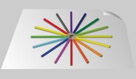 Di nuovo al fondo della scuola con l'onda e le matite dell'arcobaleno, illustrazione di vettore Fotografie Stock