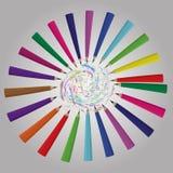 Di nuovo al fondo della scuola con l'onda e le matite dell'arcobaleno, illustrazione di vettore Immagine Stock