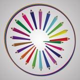 Di nuovo al fondo della scuola con l'onda e le matite dell'arcobaleno, illustrazione di vettore Immagini Stock Libere da Diritti