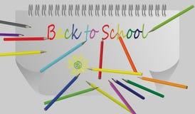Di nuovo al fondo della scuola con l'onda e le matite dell'arcobaleno, illustrazione di vettore Immagine Stock Libera da Diritti