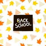 Di nuovo al fondo della scuola con le foglie di acero variopinte e il triangl Immagini Stock Libere da Diritti