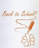Di nuovo al fondo della scuola con una matita e un fiore arancio, vettore Fotografia Stock