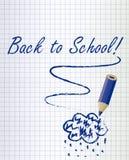 Di nuovo al fondo della scuola con una nuvola blu scuro di pioggia e della matita Fotografie Stock