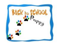 Di nuovo al logo di progettazione dell'immagine della scuola del cucciolo Immagine Stock