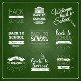 Di nuovo al logos della scuola raccolta segnata messa dell'etichetta sul fondo verde del bordo Immagine Stock Libera da Diritti