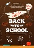 Di nuovo al manifesto di vendita della scuola Illustrazione di vettore Immagine Stock