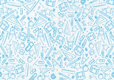 Di nuovo al modello di concetto della scuola sul taccuino con le illustrazioni blu di cose della scuola fondo di progettazione de illustrazione di stock