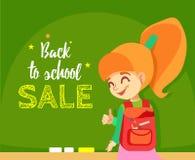 Di nuovo al modello dell'insegna di vendita della scuola Immagine Stock Libera da Diritti