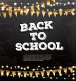 Di nuovo al modello della scuola con le ghirlande e le bandiere al neon illustrazione vettoriale