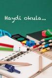 Di nuovo al modello della scuola nel turco Immagini Stock Libere da Diritti