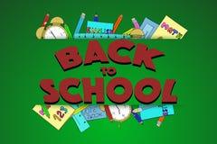 Di nuovo al segno della scuola con struttura ed i rifornimenti di scuola disegnati a mano Immagini Stock